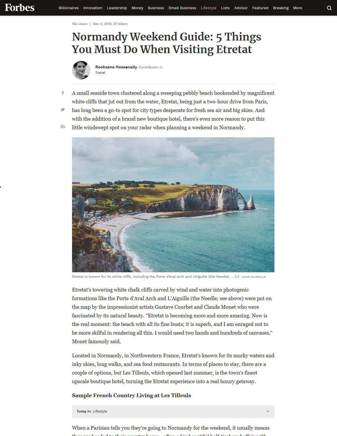 Forbes: Normandy Weekend Guide. 5 Things You Must Do When Visiting Etretat